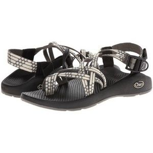 Gray and Cream Chacos